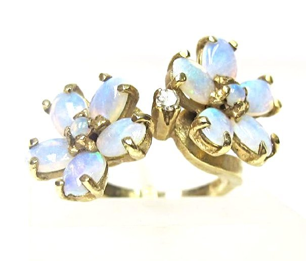 14K Yellow Gold Opal and Diamond Flower Ring, Size 6 - 4