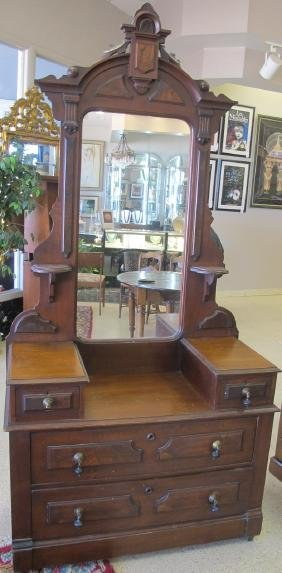 Eastlake Victorian Deep Well Dresser With Mirror