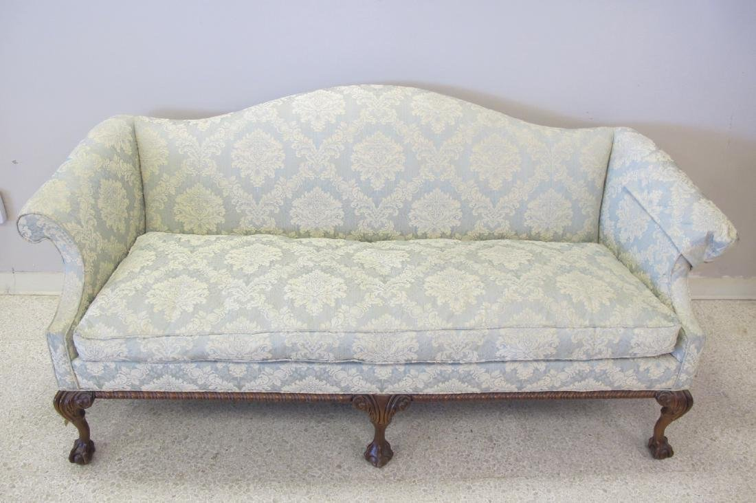 Victorian Upholstered Camel Back Couch - 2