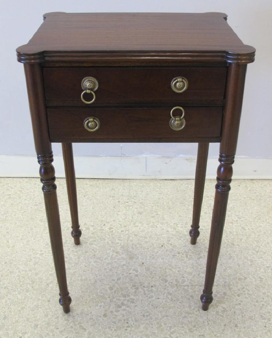 "Mahogany Side Table with 2 Drawers, 30""h x 18 1/2""w x"