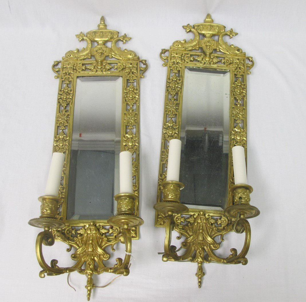 Antique Pair Gold Gilt Mirrored Sconces. Beveled Glass,