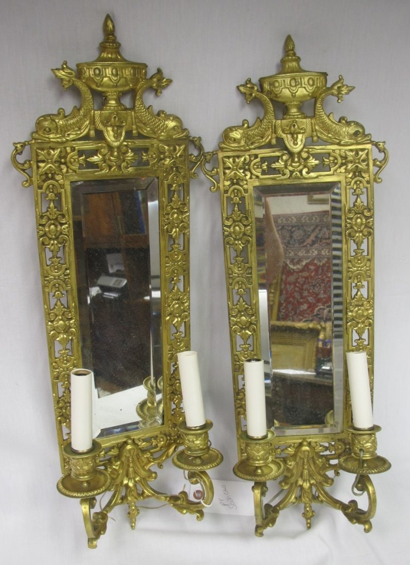 Antique Pair Gold Gilt Mirrored Sconces. Beveled Glass, - 2