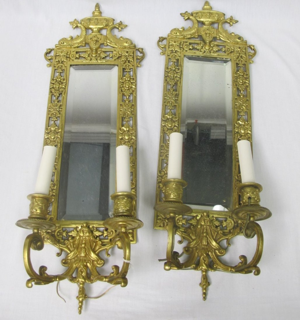 Antique Pair Gold Gilt Mirrored Sconces. Beveled Glass, - 3