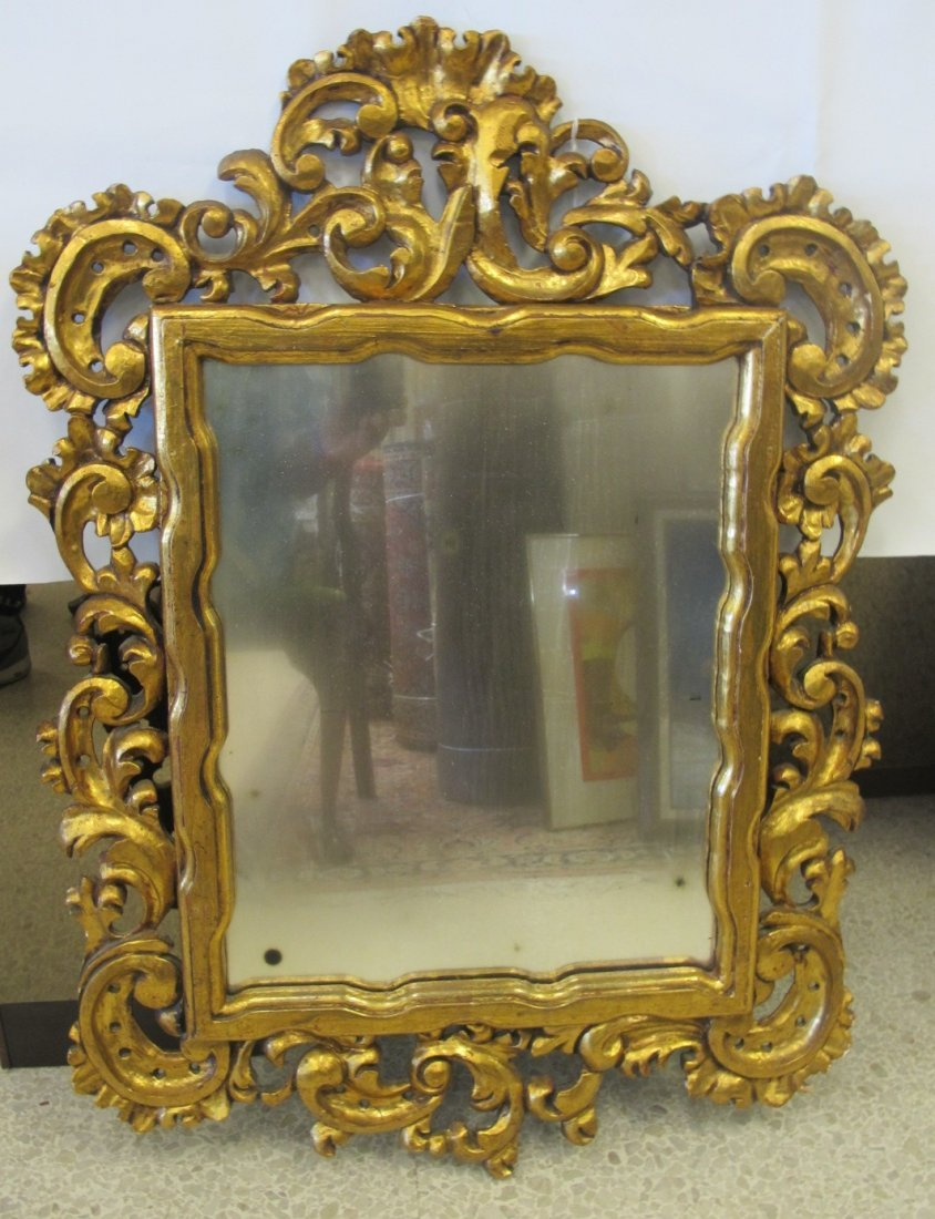 Ornately Carved Antique Gilt Wood Rococo Mirror,