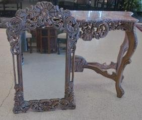 Rococo Style Carved Marble Top Console Table With