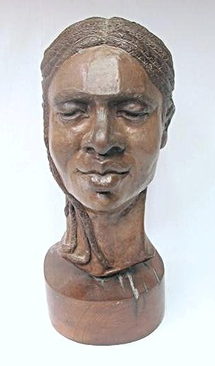Plaster Sculpture on Wood Base by Carol Wyman
