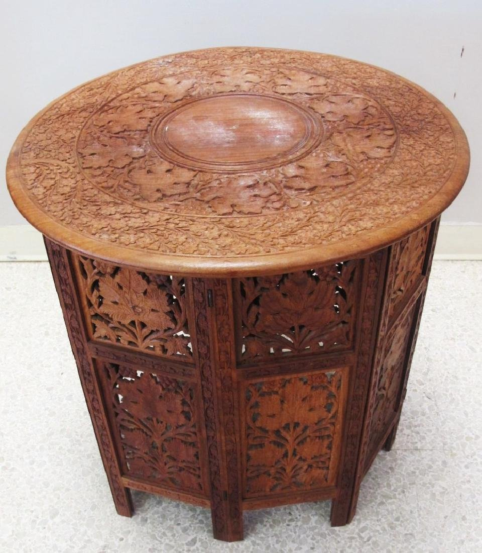 Carved Sheesham Wood Two Piece Folding Side Table from
