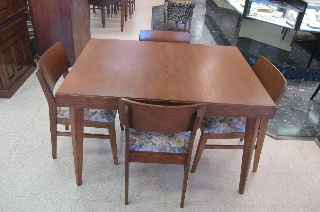 Danish Mid Century Modern Dining Table with 4 Chairs,