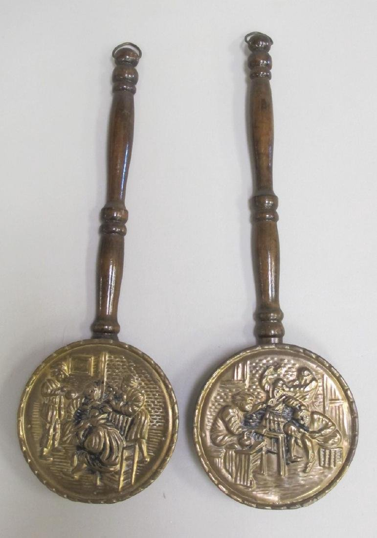 Two Small Early Brass Bed Warmers