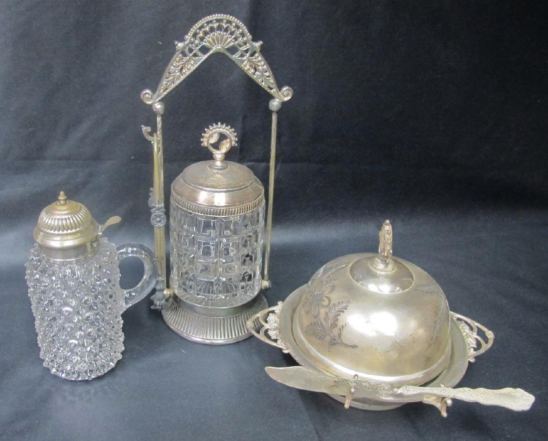 Victorian Pairpoint Butter Server with Knife, Hobnail