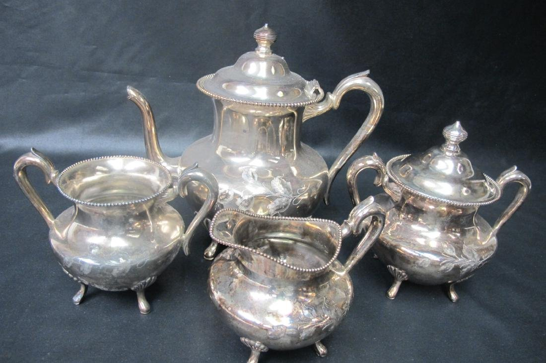 Poole Silver Plated Four (4) Piece Tea Set