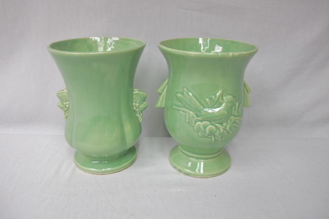 McCoy Potteryware Vase and Unmarked Matching Green