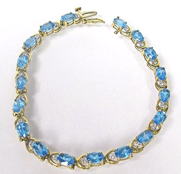 14K Yellow Gold Diamond and Blue Topaz Bracelet,