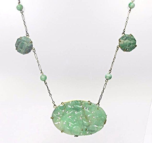Sterling Silver Antique Carved Jade Necklace