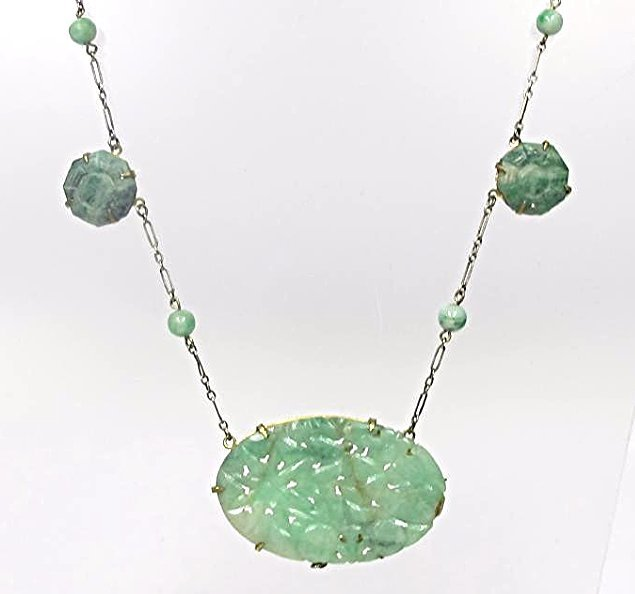 Sterling Silver Antique Carved Jade Necklace