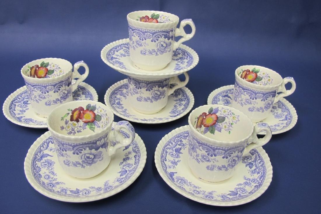 Copeland Spode Mayflower Pattern, Six (6) Cups and Six