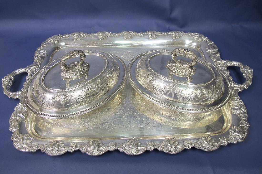 Three Pieces of Silver Plate to Include Tray and Two