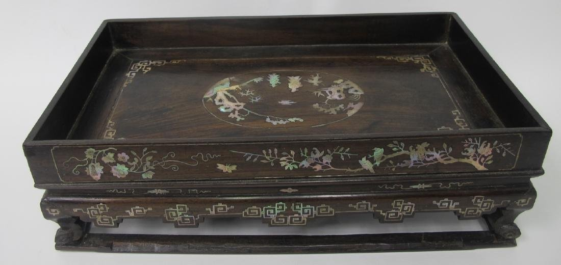 Asian Miniature Rosewood Table with Mother of Pearl