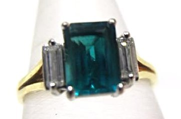Platinum and 18K Yellow Gold Emerald and Diamond Ring