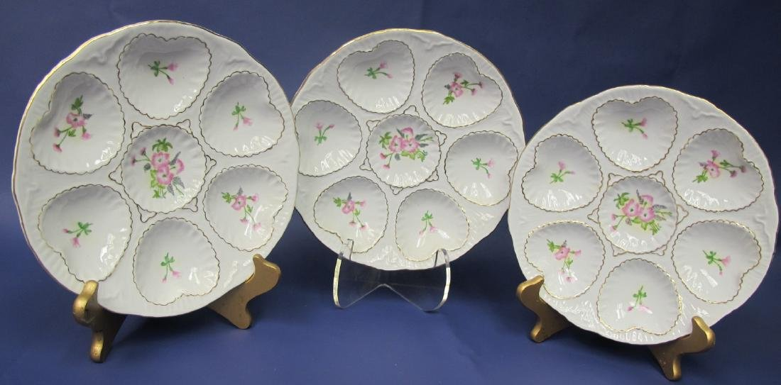 Three (3) Limoges 7 Well Oyster Plates