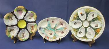 Collection of Three 3 Hand Painted Oyster Plates