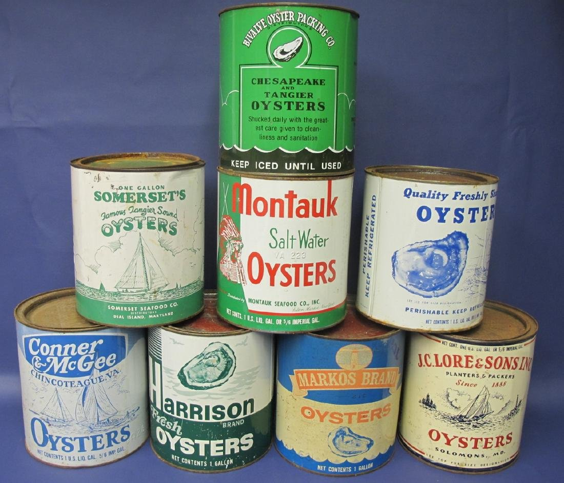 Collection of 8 Large Oyster Tins