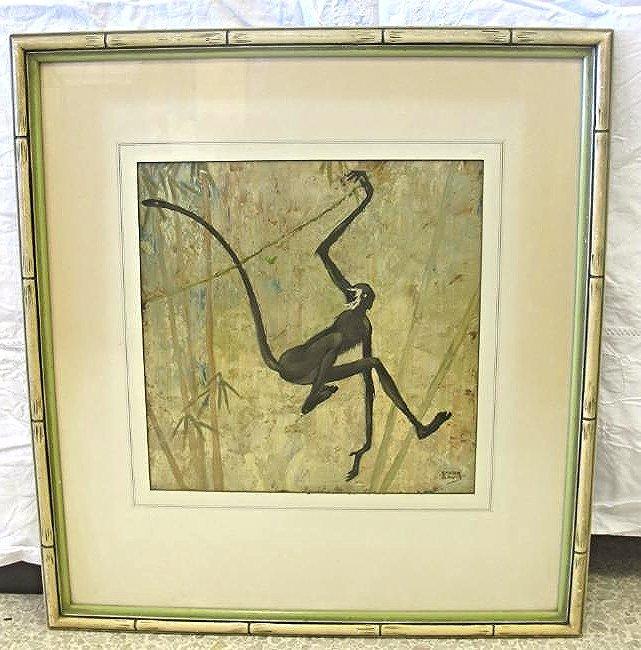 Spider Monkey by Stark Davis (1885-1950) Oil on Board