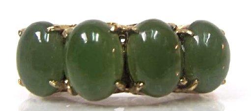 Vintage 14K Yellow Gold Jade 4 Stone Ring, Size 6 1/2