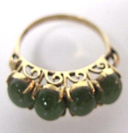Vintage 14K Yellow Gold Jade 4 Stone Ring, Size 6 1/2 - 2