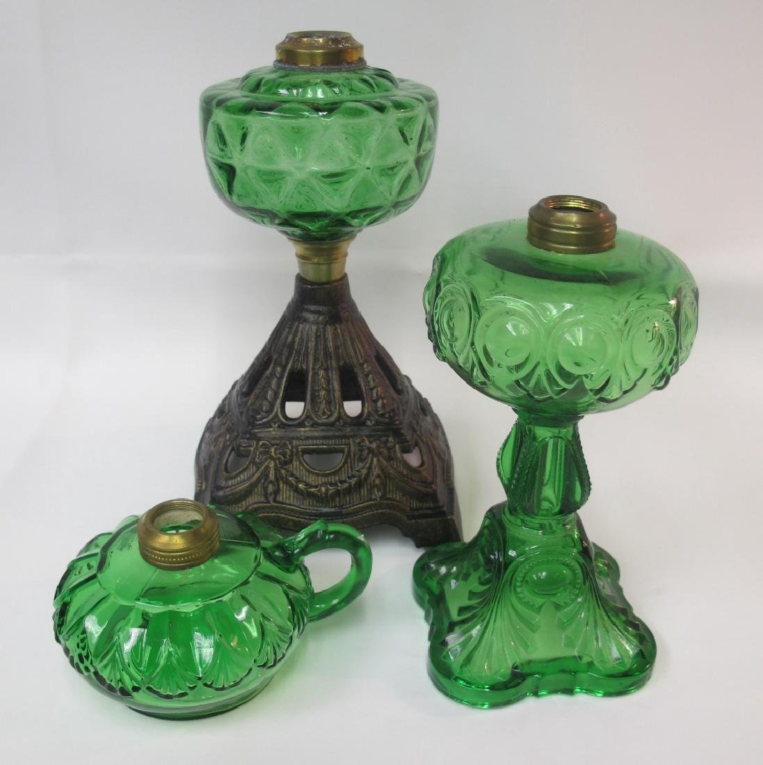 Collection of Three (3) Antique Emerald Green Kerosene