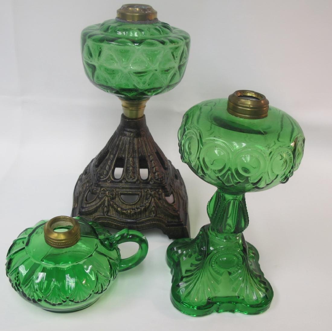 Collection of Three (3) Antique Emerald Green Kerosene - 2