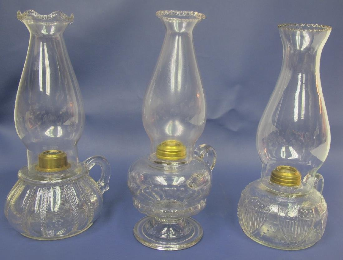Collection of Three (3) Oil Lamps : N.L. Bradley with