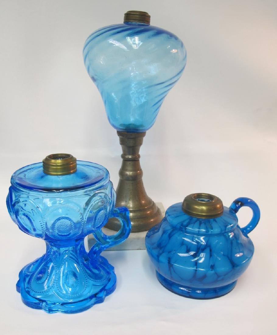 Three (3) Antique Aqua Blue Kerosene Lamps, One is
