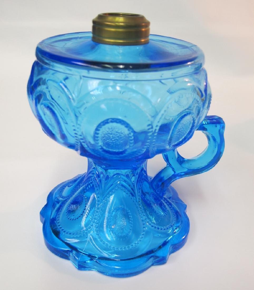 Three (3) Antique Aqua Blue Kerosene Lamps, One is - 2