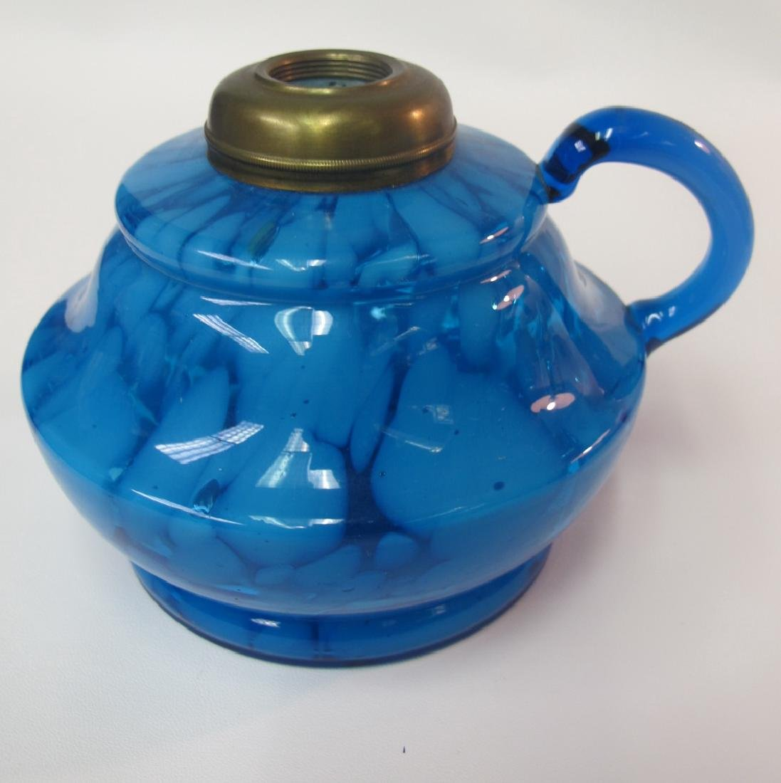 Three (3) Antique Aqua Blue Kerosene Lamps, One is - 3