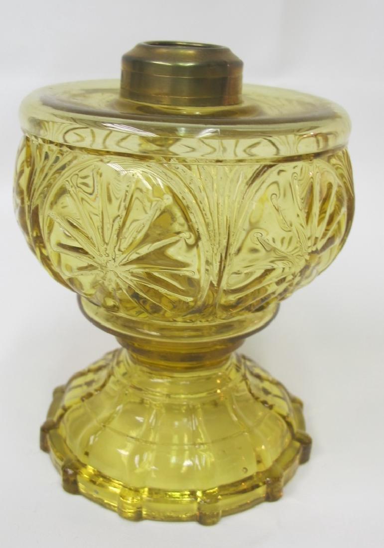 """Antique Kerosene 5 1/4"""" Lamp Has Base Like Feather - 2"""