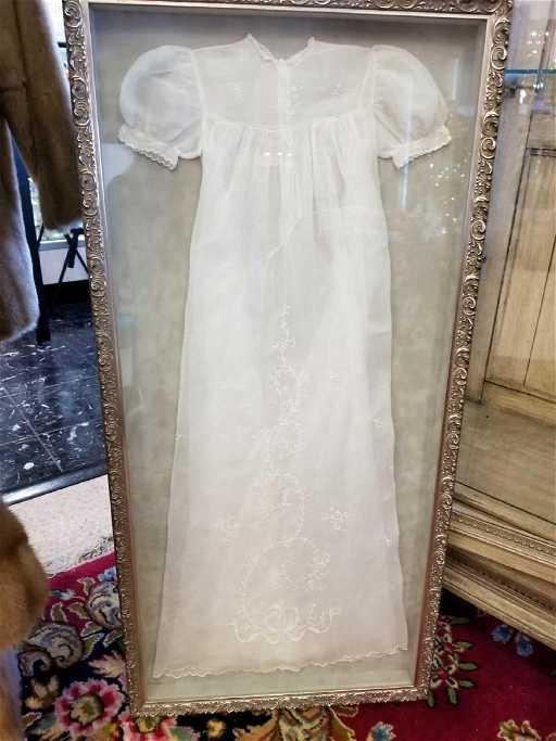 Vintage Shadow Box Framed Christening Gown, Frame Size