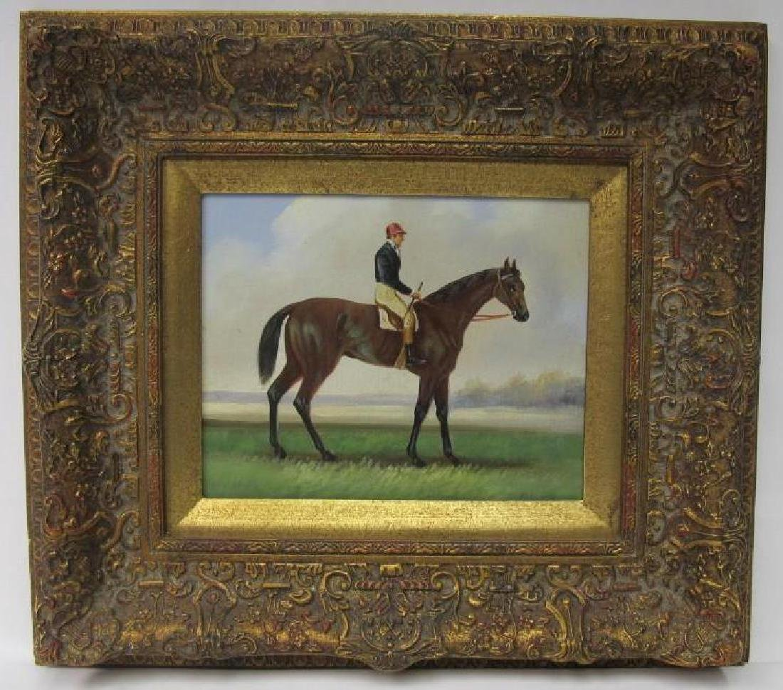 """Gentleman Riding a Horse, Unsigned, Oil on Canvas, 10"""""""