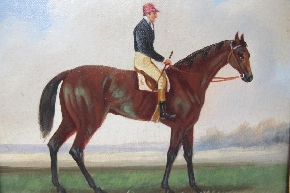 """Gentleman Riding a Horse, Unsigned, Oil on Canvas, 10"""" - 2"""