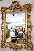 Antique Large Ornately Carved Gold Gilt Wood Mirror