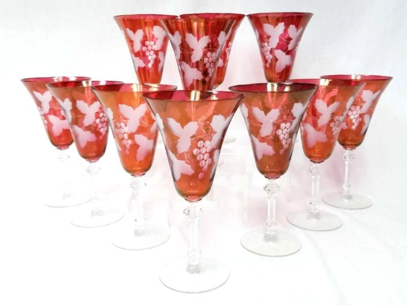 11 Cranberry Etched Wine Goblets