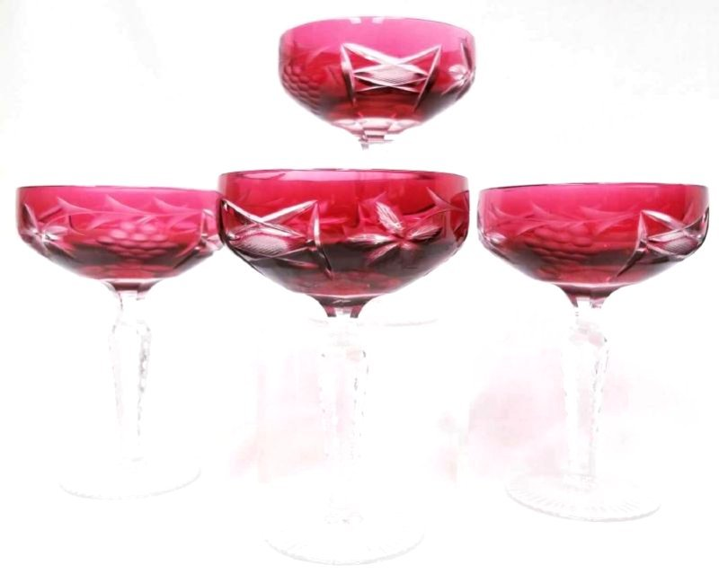 Four Bohemian Cranberry Cut to Clear Glassware