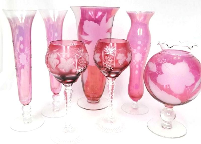 Collection of Seven Cranberry Etched Glassware