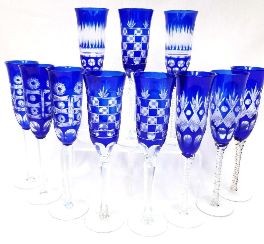 11  Bohemian Czech Cobalt Cut to Clear Champagne Flutes