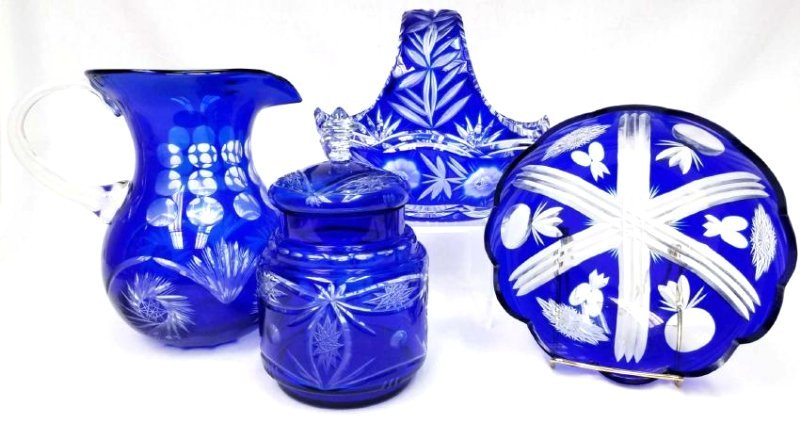 Collection of Bohemian Cobalt Cut to Clear Glassware