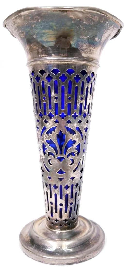Vintage Godinger Silver Vase With Cobalt Blue Glass