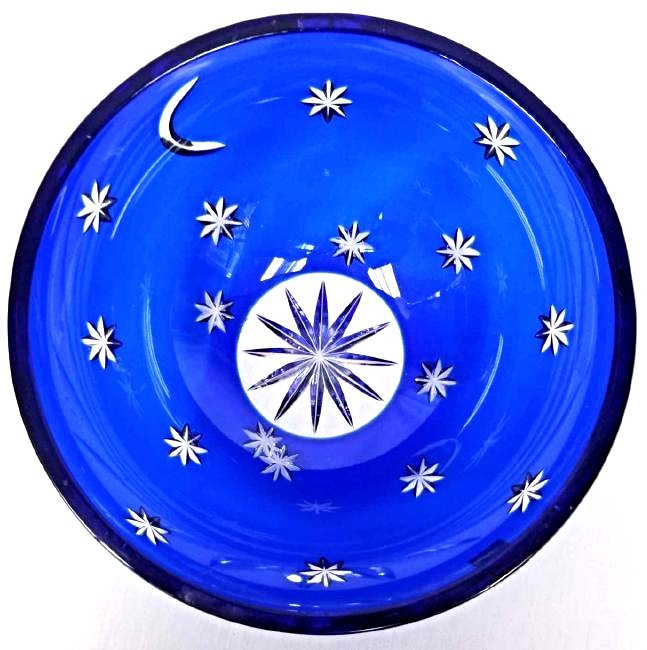 Faberge' Cobalt Cut to Clear Moon & Stars Bowl