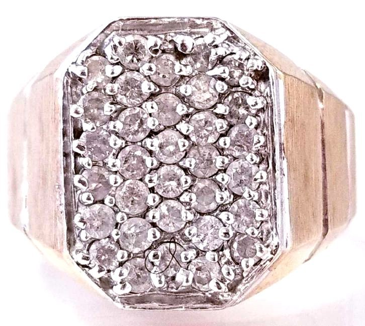 10K Yellow Gold and White Gold Diamond Cluster Ring