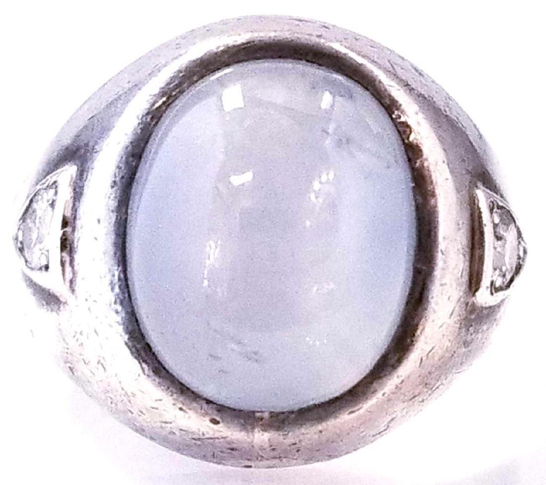 SS Gents Star Sapphire & Diamond Ring