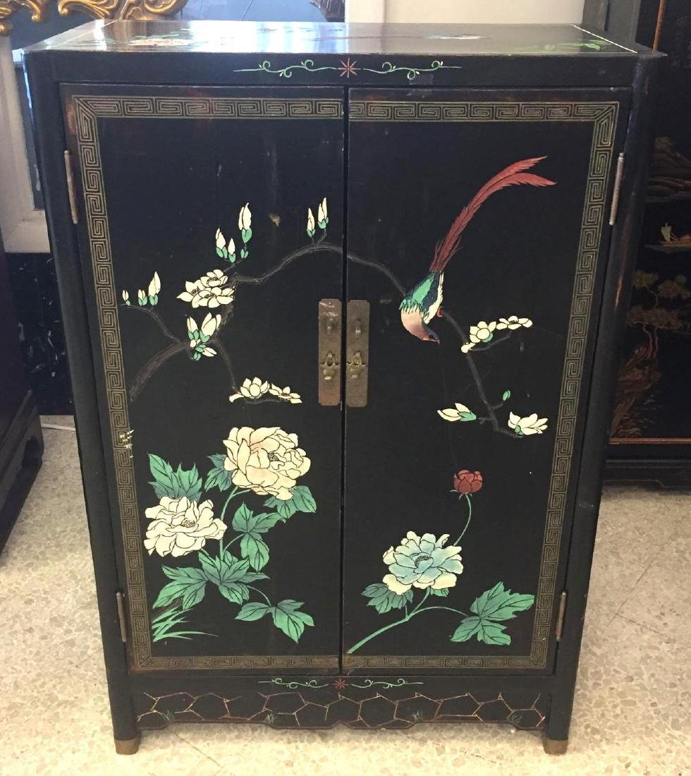 Chinese Black Lacquer Painted Cabinet